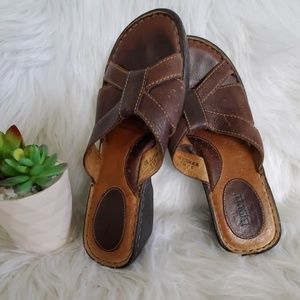 BORN Brown Leather Wedge Sandles